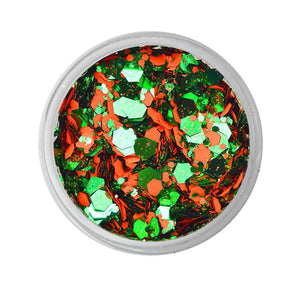 VIVID Glitter Loose Chunky Glitter Mix -  Triumphant - Orange & Green (10 gm)