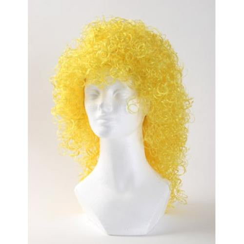 West Bay Wet Look Curly Wig - Yellow