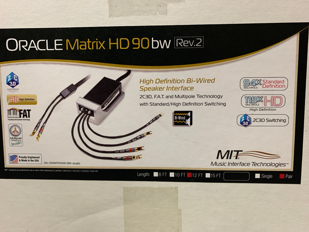 MIT Oracle Matrix HD90 bw Rev. 2 Speaker Cable w/ 12 feet [Previously Owned] - Alma Music and Audio - San Diego, California