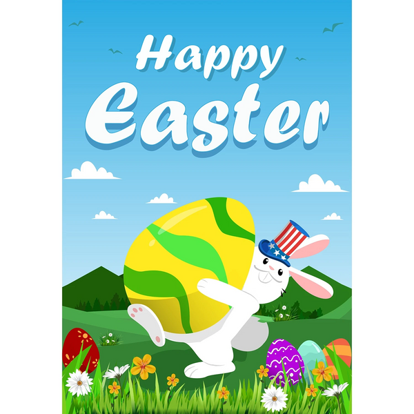 American Easter Bunny Double Sided House Flag