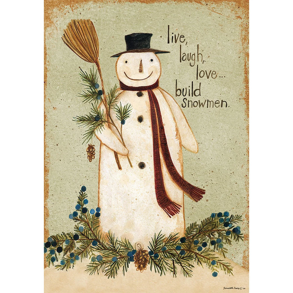 Vintage Snowman Double Sided House Flag