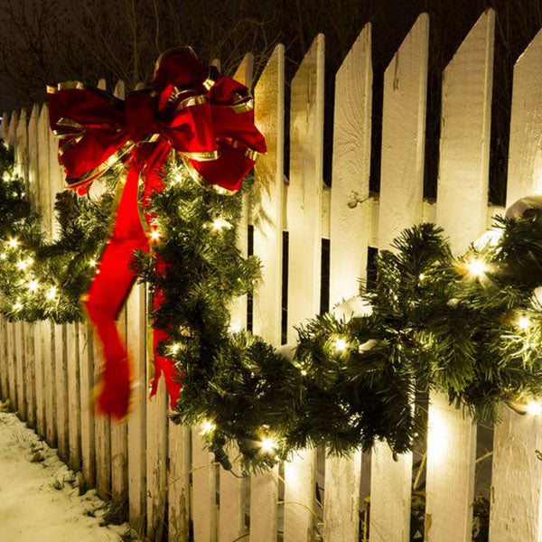 Garland on a Picket Fence