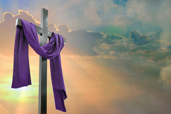 Easter Cross with Purple Drape