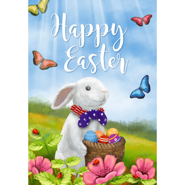Easter Bunny with Patriotic Tie Double Sided Garden Flag