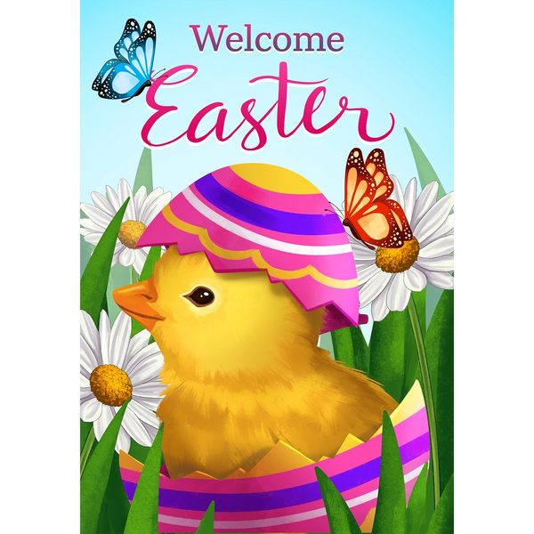 Easter Chick and Butterflies Double Sided House Flag