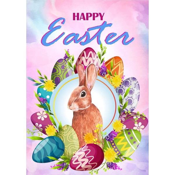 Egg-cellent Easter Wreath House Flag