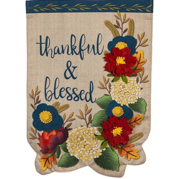 Floral Linen Double Sided Thanksgiving Flag
