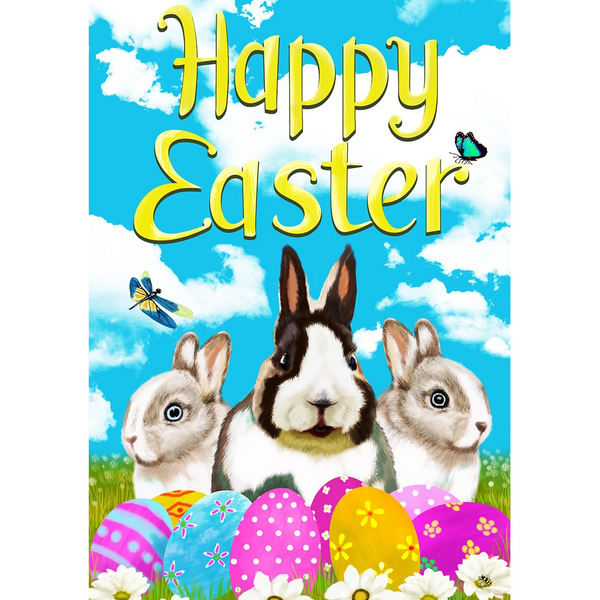 Happy Easter Bunny Friends Double Sided House Flag