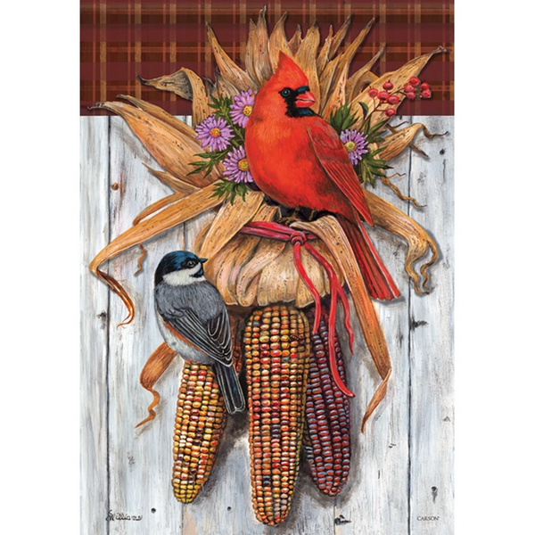 Indian Corn & Bird Garden Thanksgiving Flag