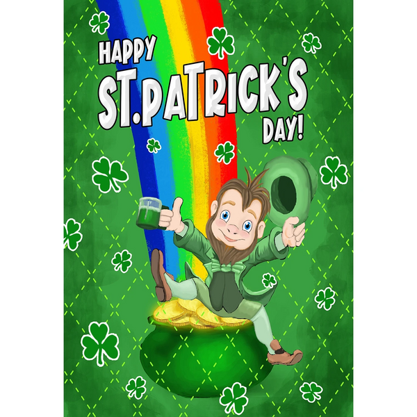 Leprechaun Rainbow Double Sided Garden Flag