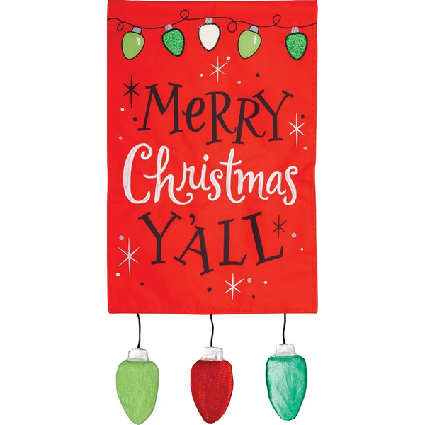 Merry Christmas Y'all Appliqued Garden Flag