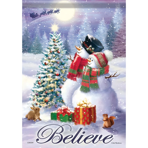 Snowman Believe Double Sided Garden Flag