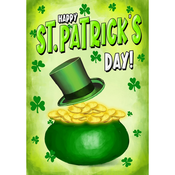 St Patty's Day Pot O Gold House Flag
