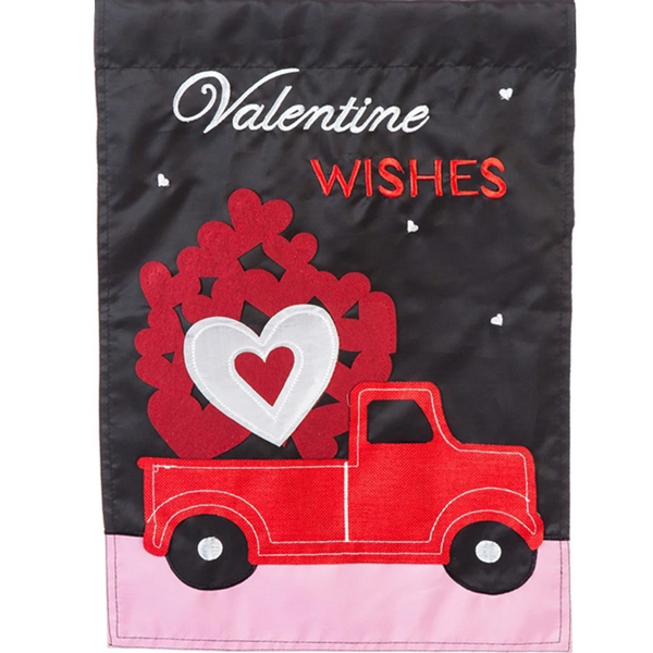 Truckoload of Hearts Double Appliqued Garden Flag