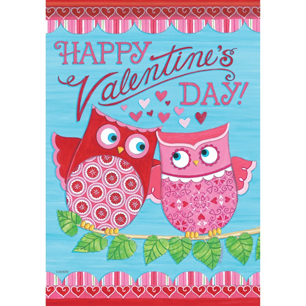 Valentine's Day Owls Double Sided Garden Flag