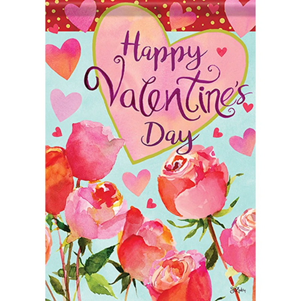 Valentines and Roses Double Sided Garden Flag