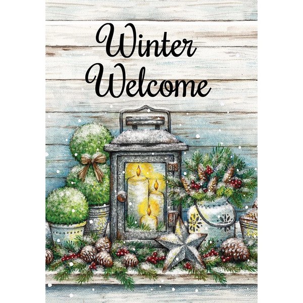 Warm Winter Welcome Double Sided Garden Flag