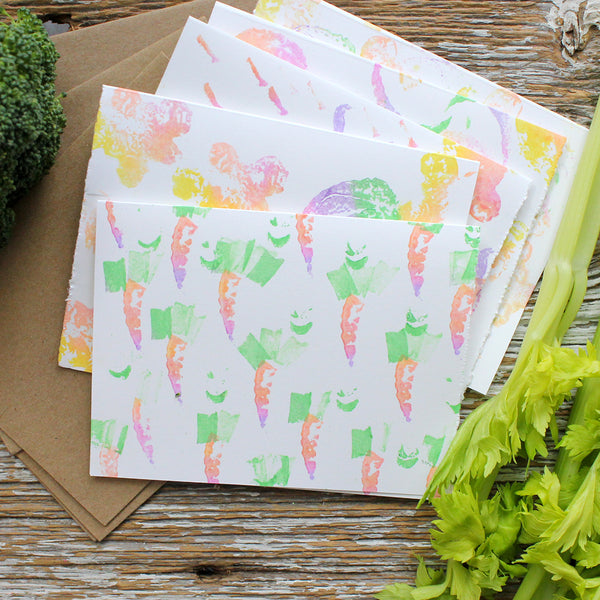 vegetable stamped note cards