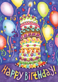 Happy Birthday Cake Balloons Garden Flag