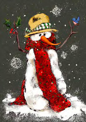 Red Scarf Snowman Garden Flag