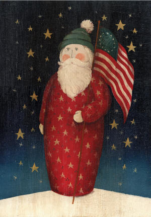 Flag Waving Santa Garden Flag
