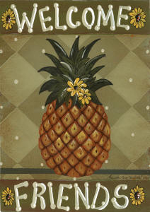 Welcome Friends Pineapple House Flag