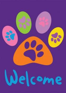 Welcome Paws- Purple Garden Flag