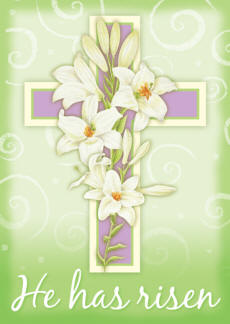 Easter Cross He Has Risen House Flag