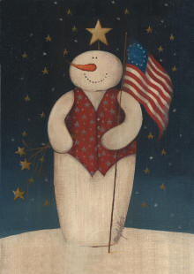Flag Waving Snowman Garden Flag