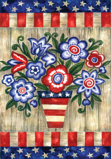 Patriotic Flowers House Flag