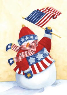 Star Spangled Snowman Garden Flag