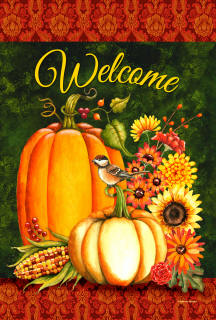 Welcome Fall Gourds House Flag