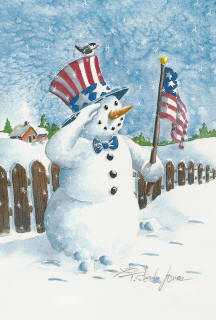 Uncle Patriotic Snowman Garden Flag