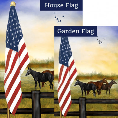 American Country Sunrise Double Sided Flags Set (2 Pieces)