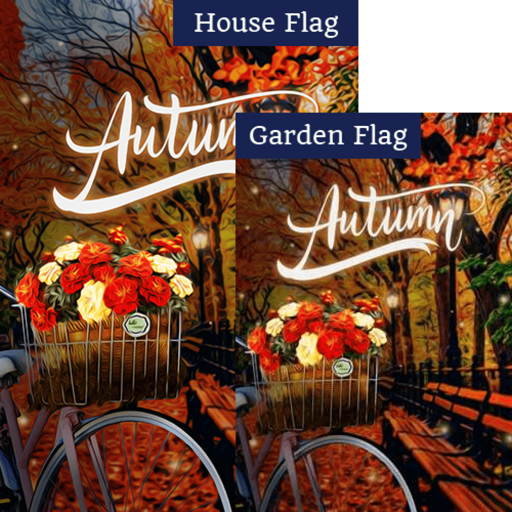 Autumn Night Bike Ride Flags Set (2 Pieces)