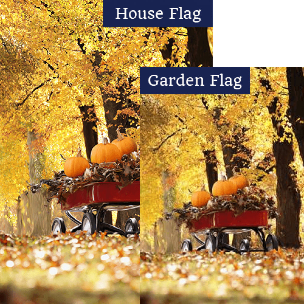 Fall Red Wagon Flags Set (2 Pieces)