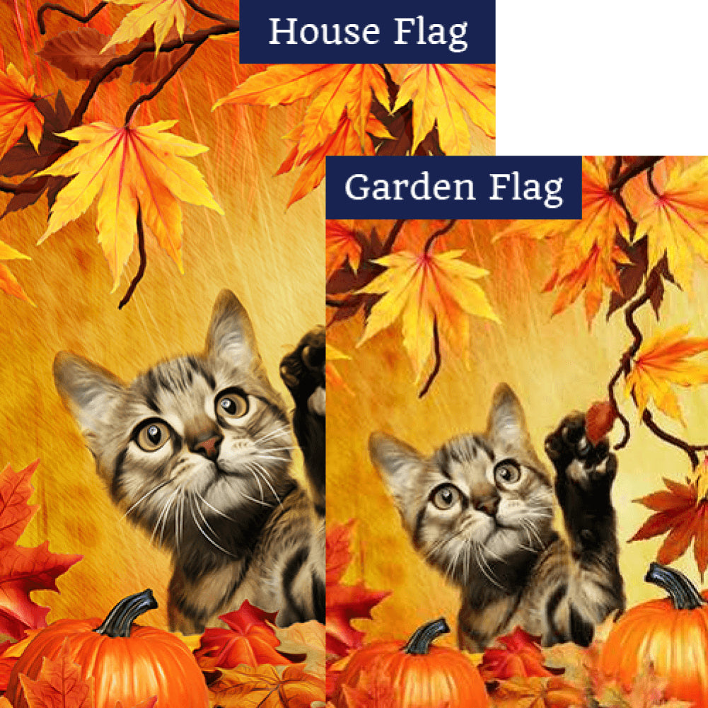 Curious Fall Kitten Flags Set (2 Pieces)