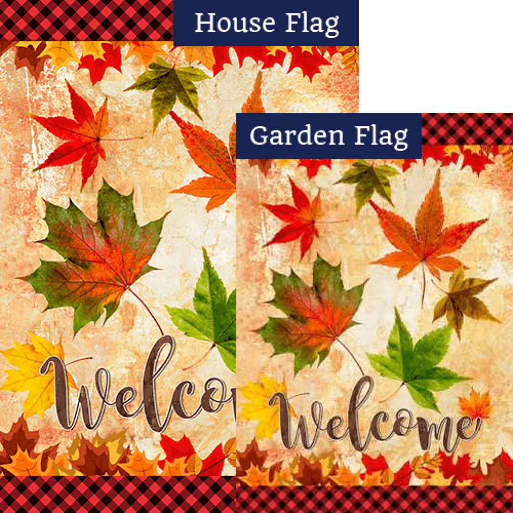 Fall Leaves Welcome Autumn Flags Set (2 Pieces)