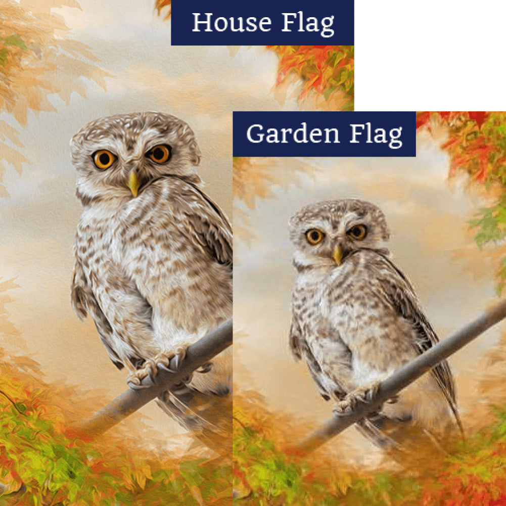 """Owl"" See You In The Fall Flags Set (2 Pieces)"