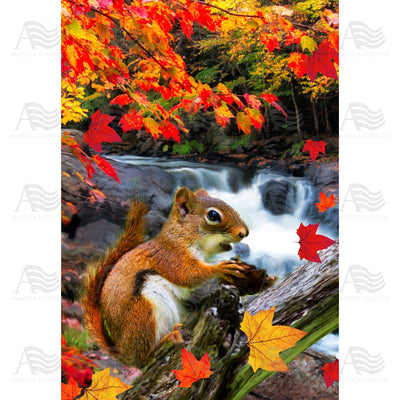 Squirrel At Waterfall Double Sided Garden Flag