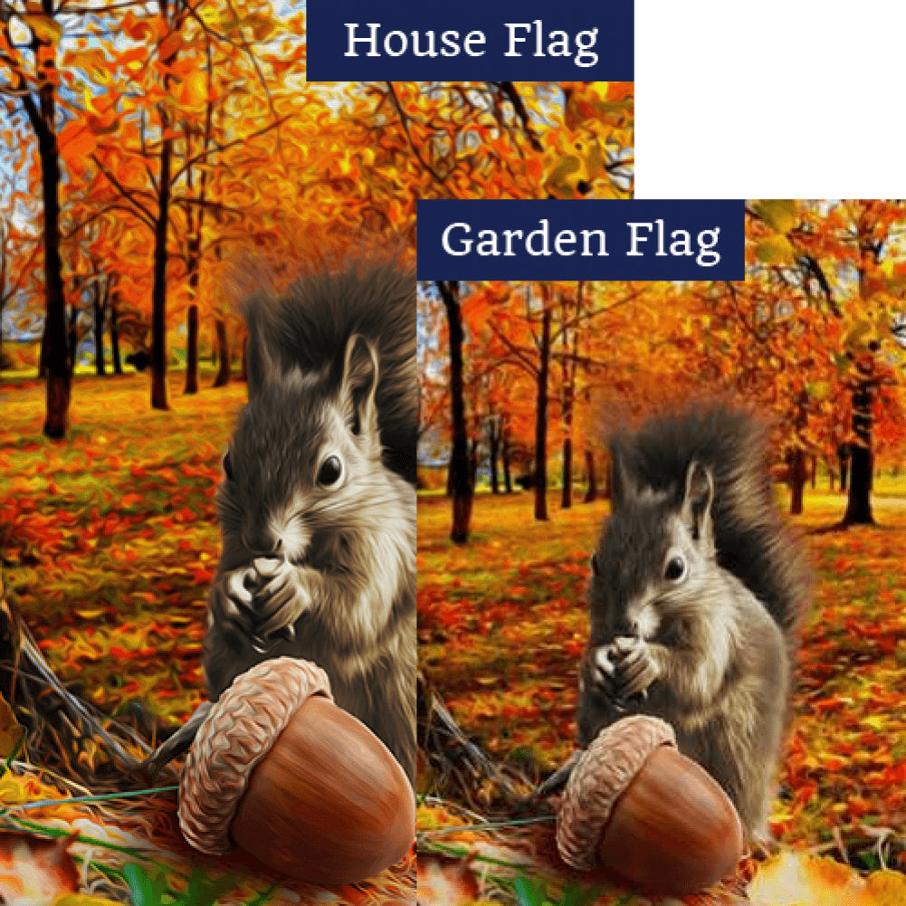 Fall Squirrel Finds Acorn Flags Set (2 Pieces)