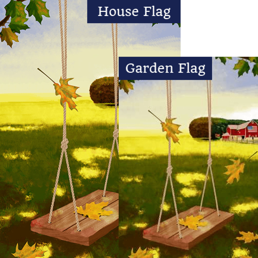Country Swinging In Fall Flags Set (2 Pieces)