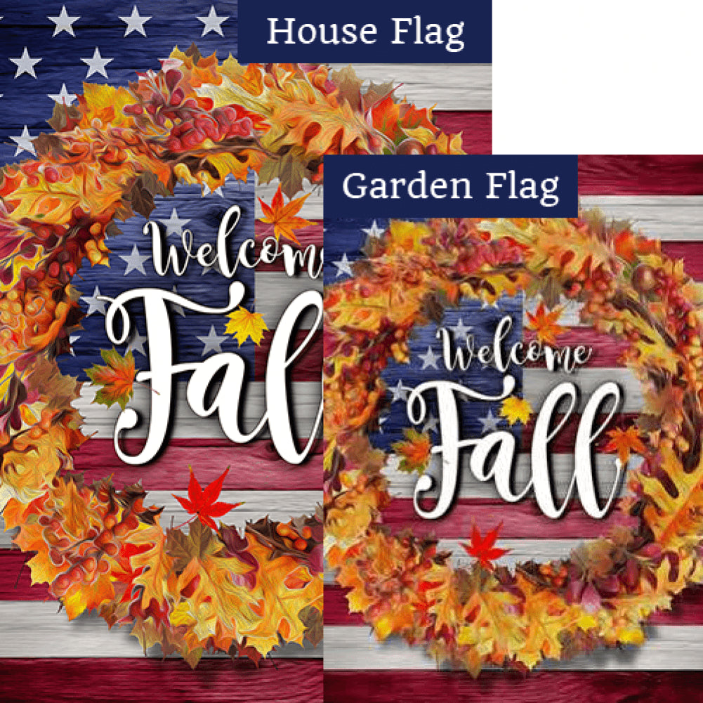 Patriotic Fall Welcome Flags Set (2 Pieces)