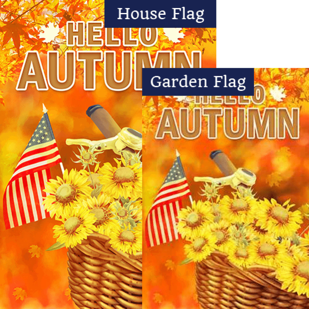Autumn Flowers Bike Basket Flags Set (2 Pieces)