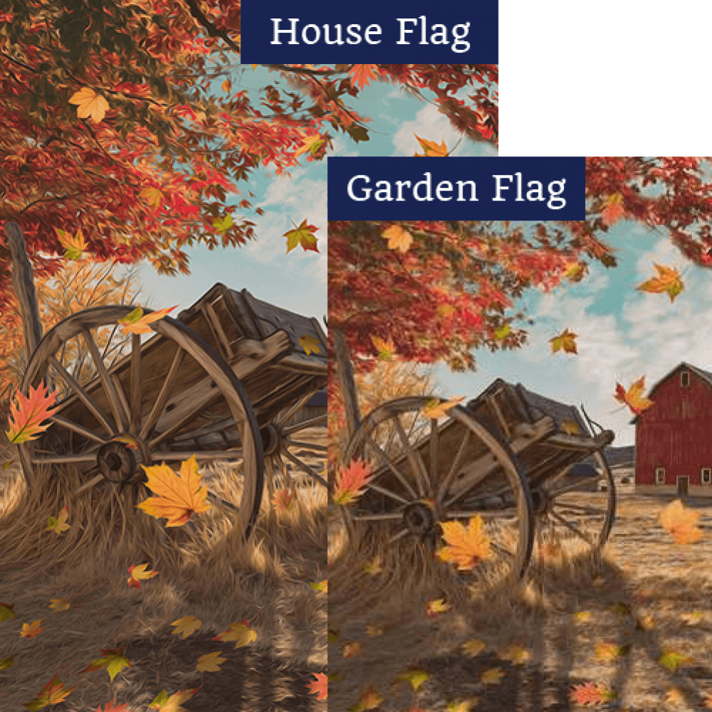 Old Wooden Farm Cart Flags Set (2 Pieces)