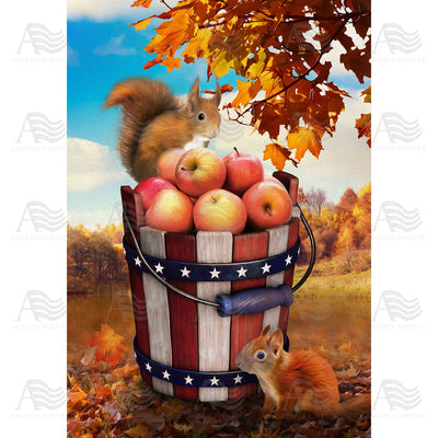 Fall Squirrels With Apple Bounty Flags Set (2 Pieces)