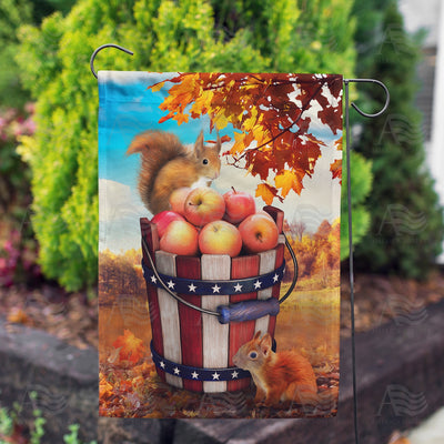 Fall Squirrels With Apple Bounty Double Sided Garden Flag