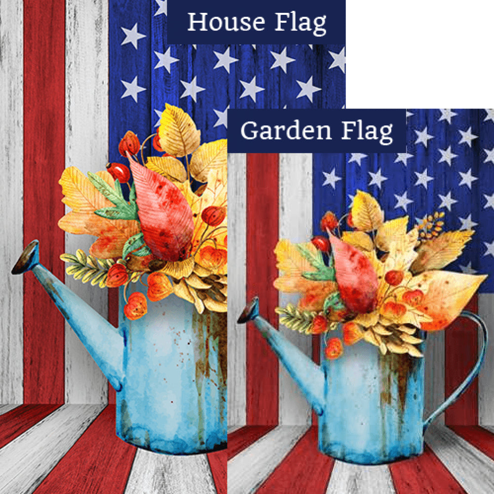 Old Fall Watering Can Flags Set (2 Pieces)