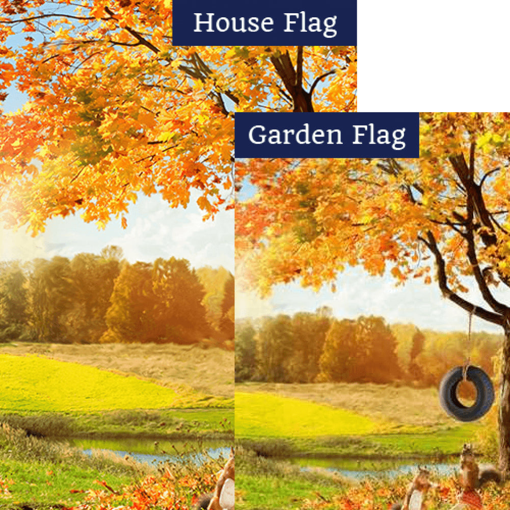 Fall Squirrel Playground Flags Set (2 Pieces)