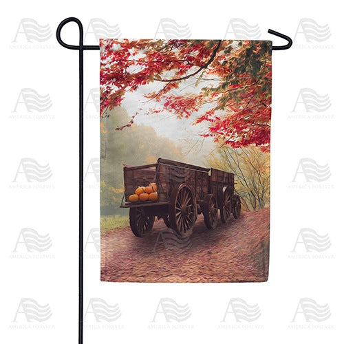 Old Pumpkin Wagon Double Sided Garden Flag